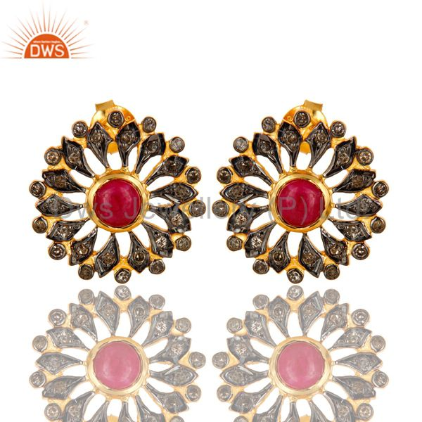 18K Yellow Gold Sterling Silver Ruby And Pave Diamond Flower Stud Earrings