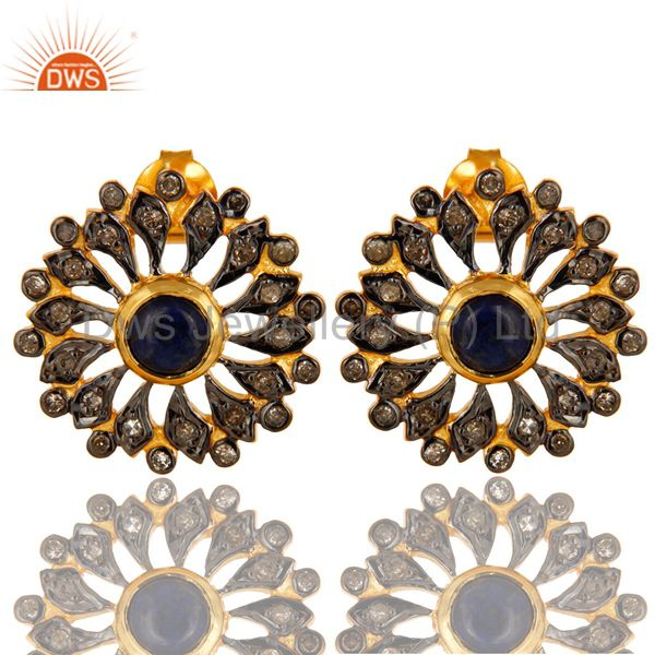 18K Gold Sterling Silver Blue Sapphire And Pave Diamond Flower Stud Earrings
