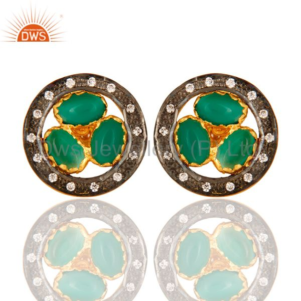 18-Carat Yellow Gold-Plated Green Onyx Gemstone Stud Earrings With Pave CZ