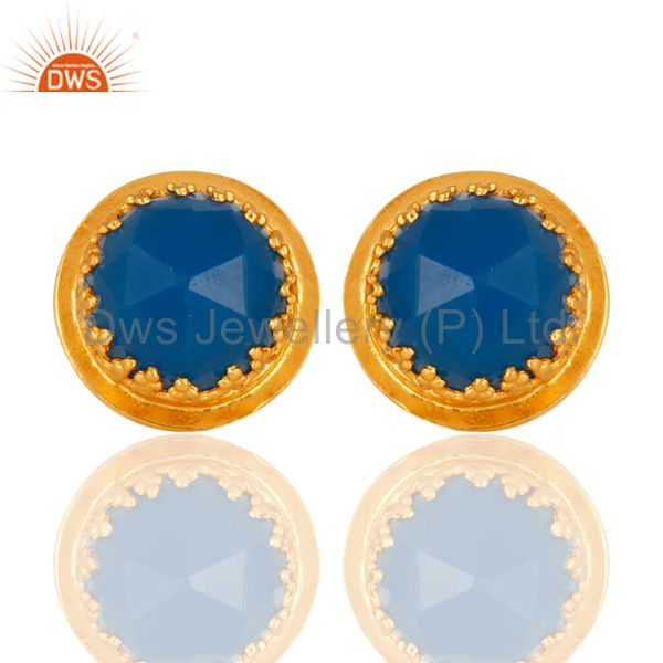 Natural Blue Chalcedony Gemstone Designer Stud Earrings With Gold Plated