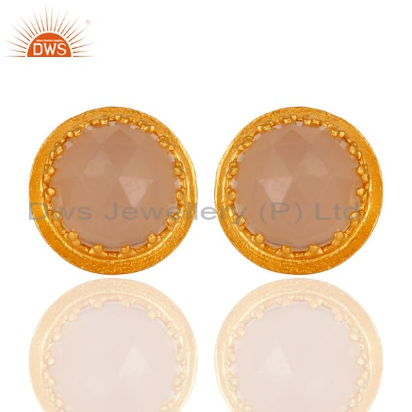 Natural Rose Chalcedony Faceted Gemstone Stud Earrings With Gold Plated