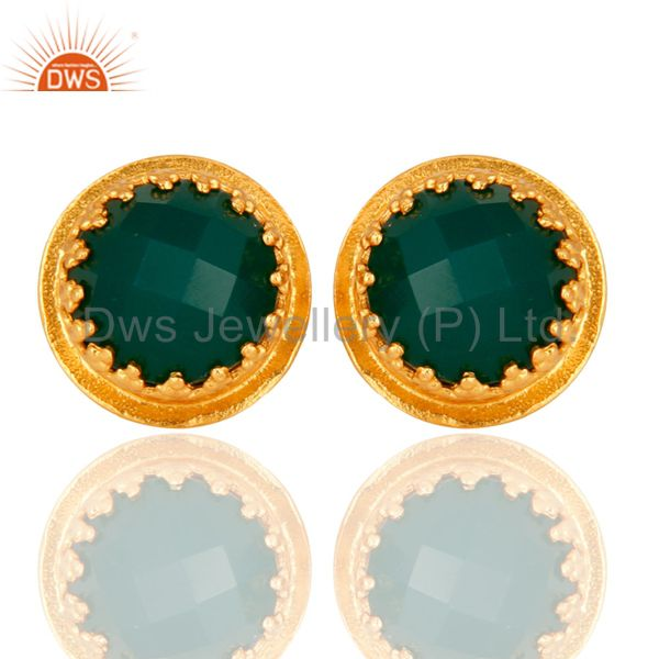 Designer Green Onyx Gemstone Stud Earrings With Yellow Gold Plated