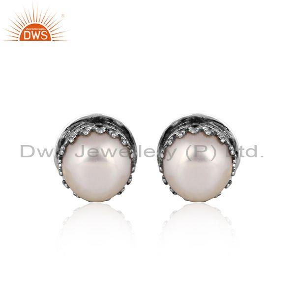 Pearl set oxidized 925 silver classic statement earrings