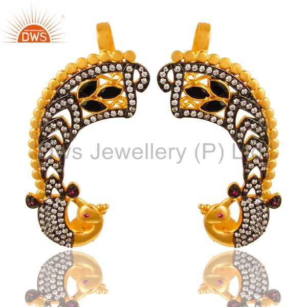 14K Yellow Gold Plated Black Onyx And CZ Peacock Fashion Ear Cuff Earrings