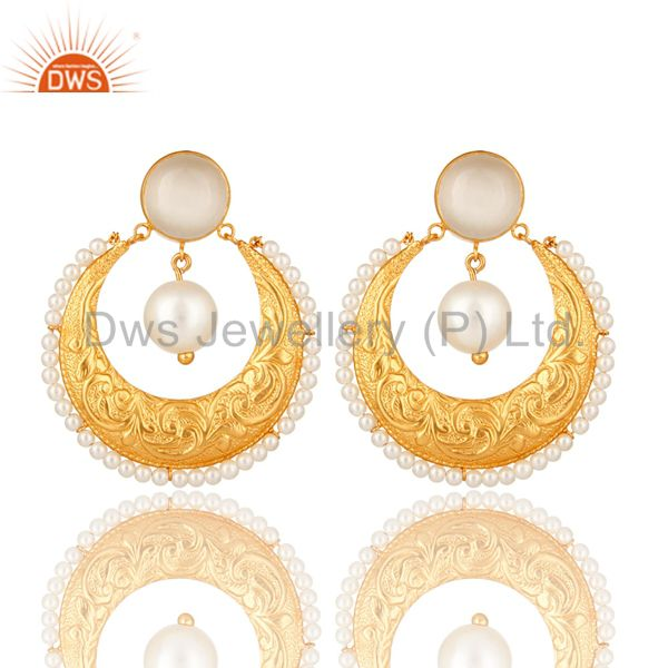 Handmade White Moonstone, Pearl & CZ Indian Ethnic Earrings In 14K Gold On Brass