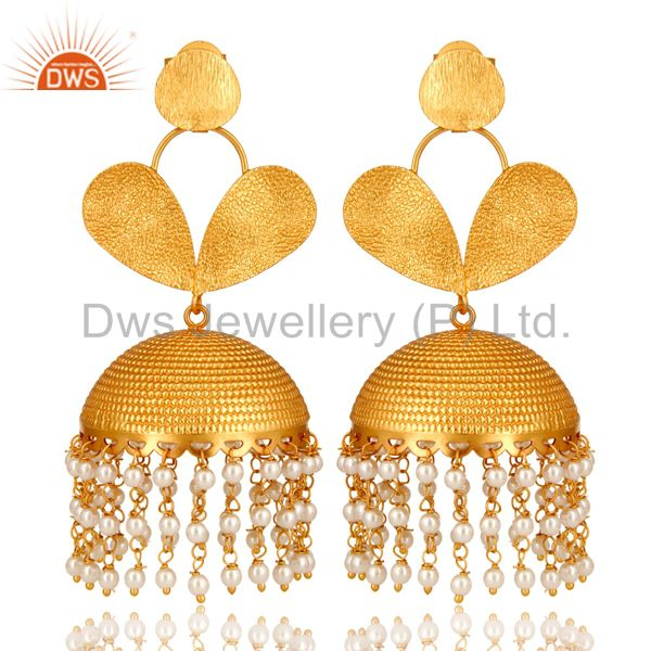 22K Matte Yellow Gold Plated Brass Pearl Indian Designer Jhumka Earrings