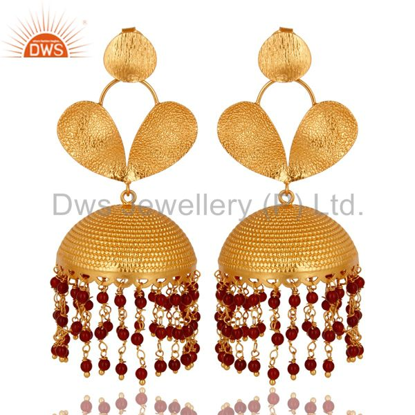22K Yellow Gold Plated Red Onyx Beads Jhumka Fashion Dangle Earrings
