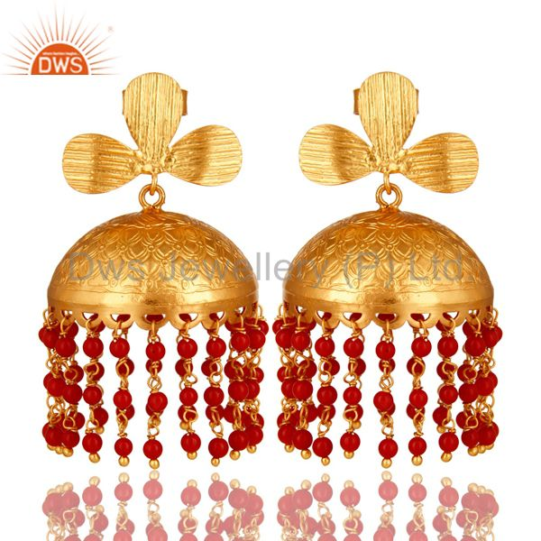 22K Yellow Gold Plated Red Coral Gemstone Beaded Designer Jhumka Earrings