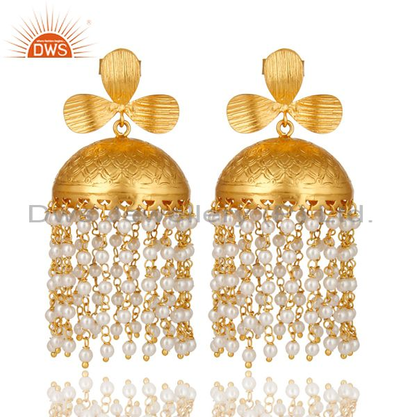 22K Yellow Gold Plated Brass Pearl Beaded Indian Traditional Jhumka Earrings