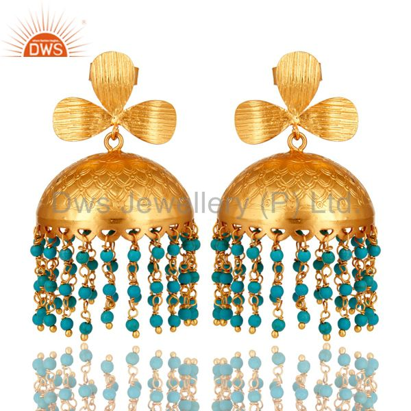 22K Yellow Gold Plated Turquoise Gemstone Beaded Indian Jhumka Earrings