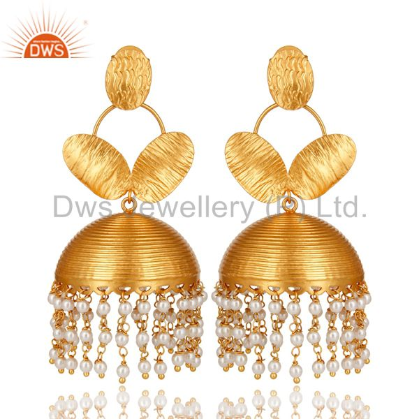 Designer 22K Yellow Gold Plated Brass Pearl Beads Jhumka Chandelier Earrings