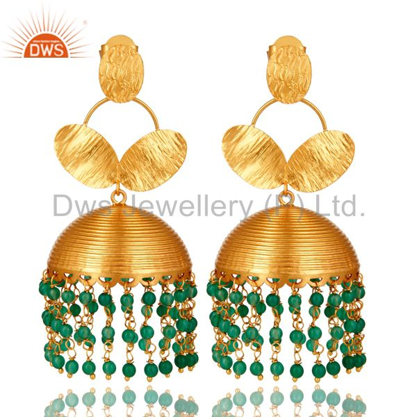 22K Yellow Gold Plated Green Onyx Beaded Indian Fashion Jhumka Earrings