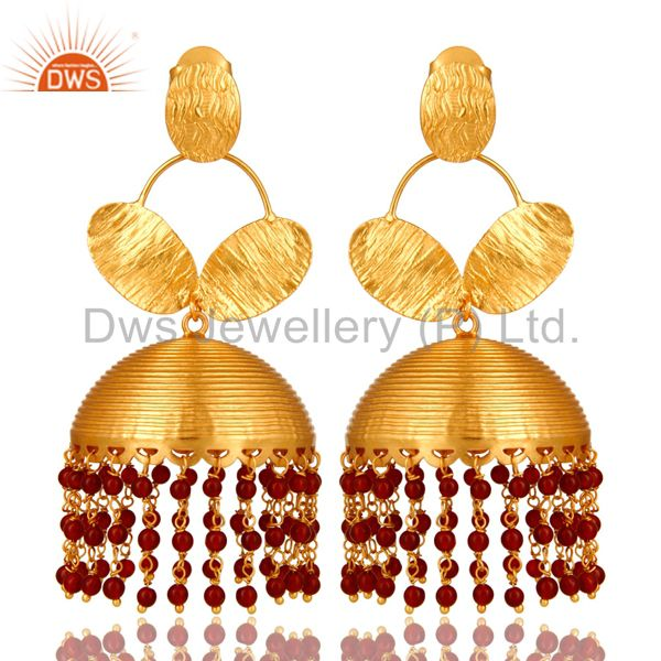 22K Yellow Gold Plated Red Onyx Gemstone Beads Fashion Jhumka Earrings