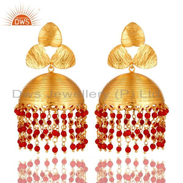 14K Yellow Gold Plated Red Coral Beads Indian Ethnic Jhumka Fashion Earrings
