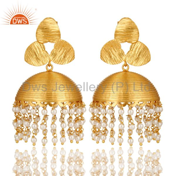 22K Yellow Gold Plated White Pearl Beaded Fashion Designer Jhumka Earrings