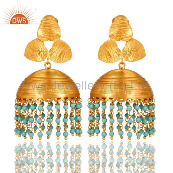 22K Yellow Gold Plated Brass Turquoise South Indian Fashion Jhumka Earrings