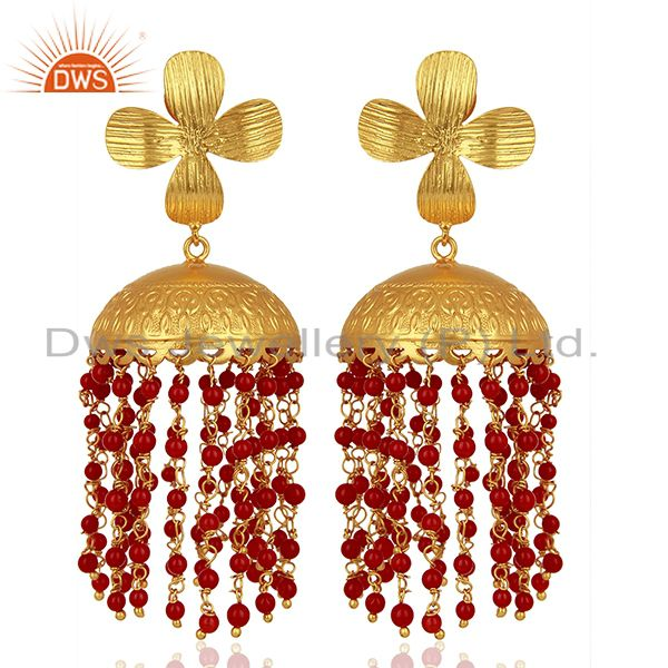 22K Yellow Gold Plated Brass Red Coral Beaded Chandelier Jhumka Earrings