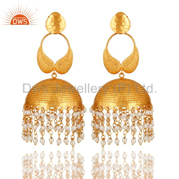 14K Gold Plated Matte Finish Pearl Beads Indian Ethnic Jhumka Fashion Earrings