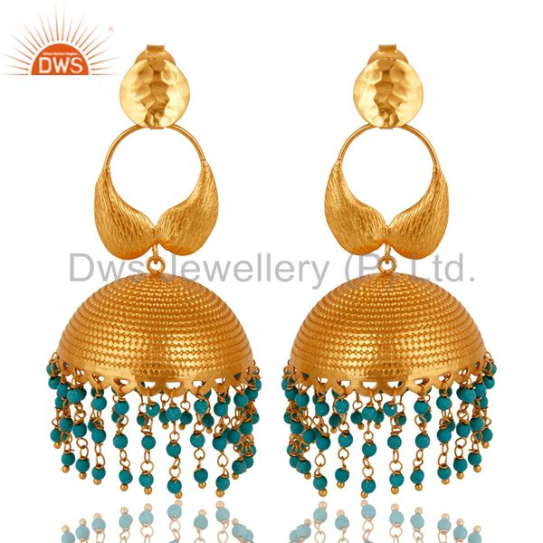 22K Yellow Gold Plated Turquoise Designer Indian Jhumka Fashion Earrings