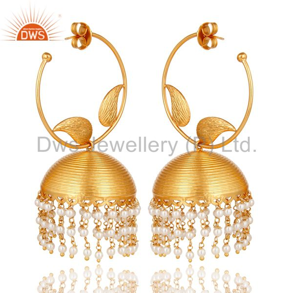 22K Yellow Gold Plated Natural Pearl Beads South Indian Fashion Jhumka Earrings