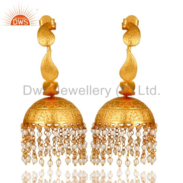 24K Yellow Gold Plated White Pearl Traditional Fashion Jhumka Earrings