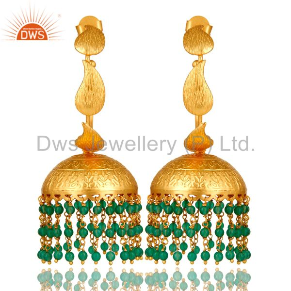 24K Yellow Gold Plated Brass Green Onyx Traditional Fashion Jhumka Earrings