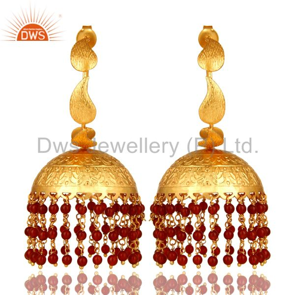 24K Yellow Gold Plated Red Onyx Indian Traditional Fashion Jhumka Earrings