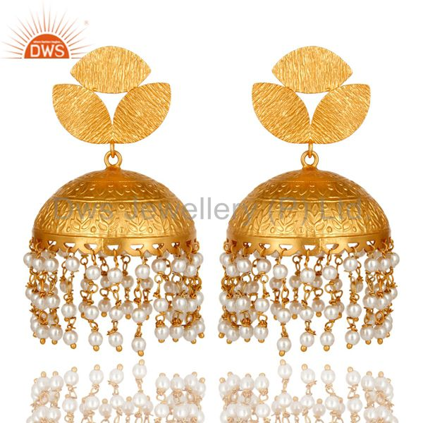 22K Yellow Gold Plated Matte Finished Pearl Beaded Indian Jhumka Earrings