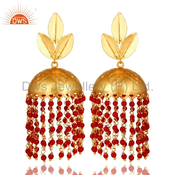 22K Yellow Gold Plated Red Coral Designer Indian Fashion Jhumka Earrings
