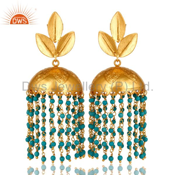 22K Yellow Gold Plated Turquoise Designer Indian Fashion Jhumka Brass Earrings