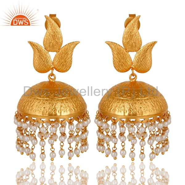 24K Yellow Gold Plated Pearl indian Traditional Fashion Jhumka Earrings