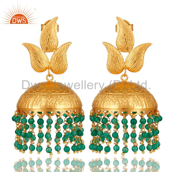 22K Yellow Gold Plated Brass Green Onyx Floral Design Engraved Jhumka Earrings