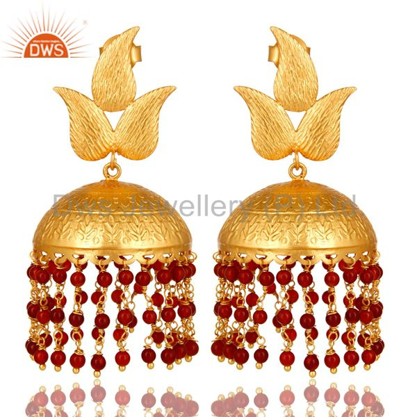 22K Yellow Gold Plated Red Onyx Beaded Jhumka Dangle Earrings