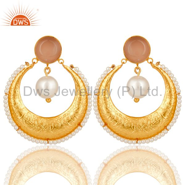 Chalcedony Gemstone And Pearl Ethnic Designer Earrings Made In 14K Gold On Brass