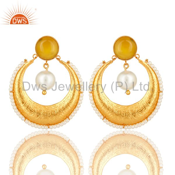 Yellow Moonstone And Pearl Ethnic Fashion Earrings In 14K Gold Over Brass