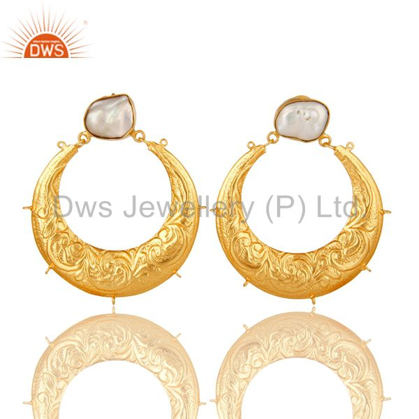 Natural Pearl 18K Gold Plated Brass Floral Engraved Designer Finding