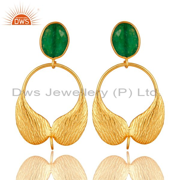 18K Gold Plated Brass Green Aventurine Angel Wing Designer Dangle Post Finding