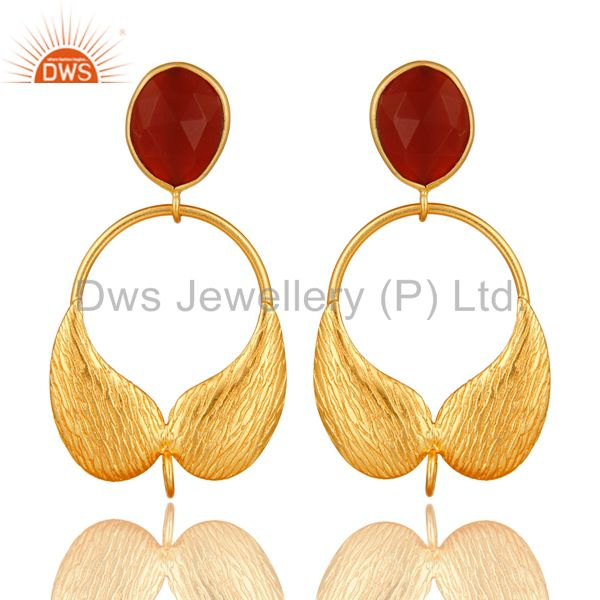 18K Gold Plated Brass Red Onyx Angel Wing Designer Dangle Post Finding