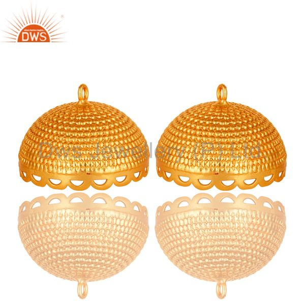 18k yellow gold plated brass rope traditional jhumka component