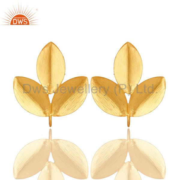 18-Karat Gold Plated Brass Brushed Finish Leaf Design Post Stud Finding