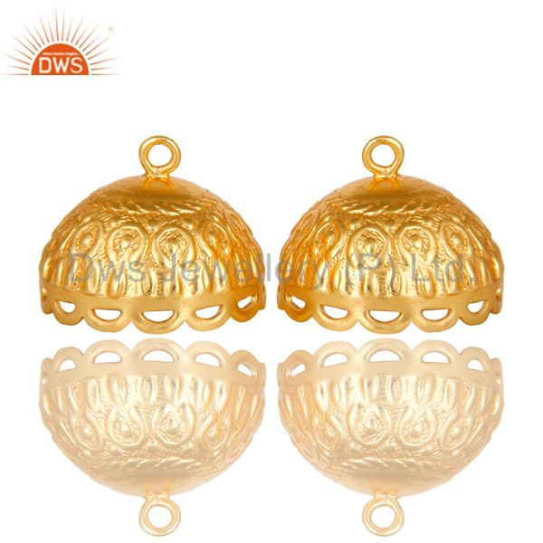 22K Yellow Gold Plated Brass Engraved Designer Jhumka Earrings