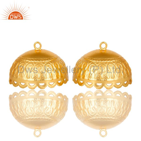22K Yellow Gold Plated Brass Floral Engraved Traditional Jhumka Earrings