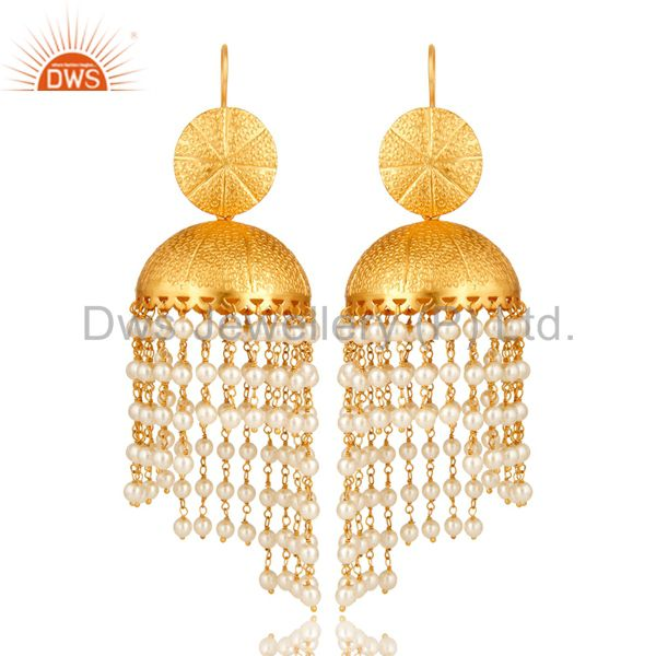 24K Yellow Gold Plated Brass White Pearl Indian Traditional Jhumka Earrings