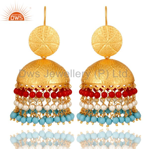 22K Matte Gold Plated Red Coral, Turquoise And Pearl Jhumka Dangle Earrings