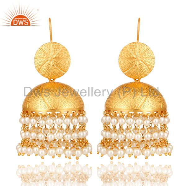 22K Matte Gold Plated Pearl Jhumka Dangle Earring Traditional Jewelry