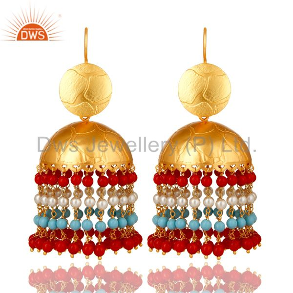 22K Gold Plated Red Coral, Turquoise And Pearl Jhumka Fashion Dangle Earrings