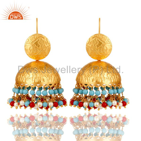 22K Gold Plated Red Coral, Turquoise And Pearl Indian Fashion Dangle Earrings