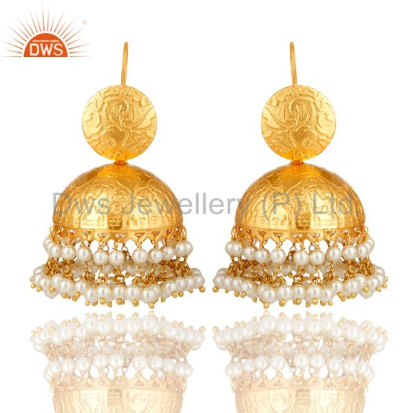 24K Yellow Gold Plated Brass Pearl Beaded Indian Traditional Jhumka Earrings