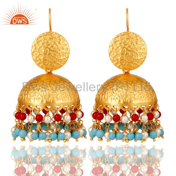 22K Matte Yellow Gold Plated Turquoise, Pearl And Red Coral Dangle Earrings