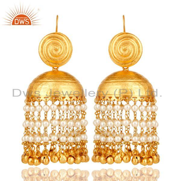 18k gold plated matte finish traditional pearl jhumki earring